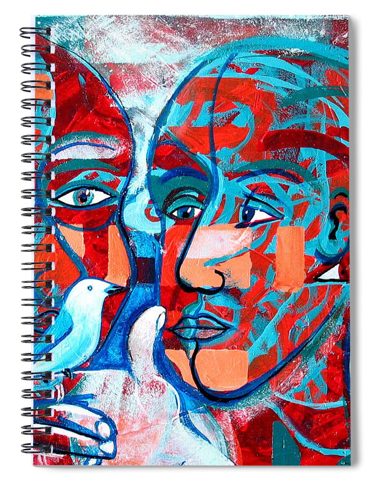 Bird Spiral Notebook featuring the painting Take Care My Love by Rollin Kocsis