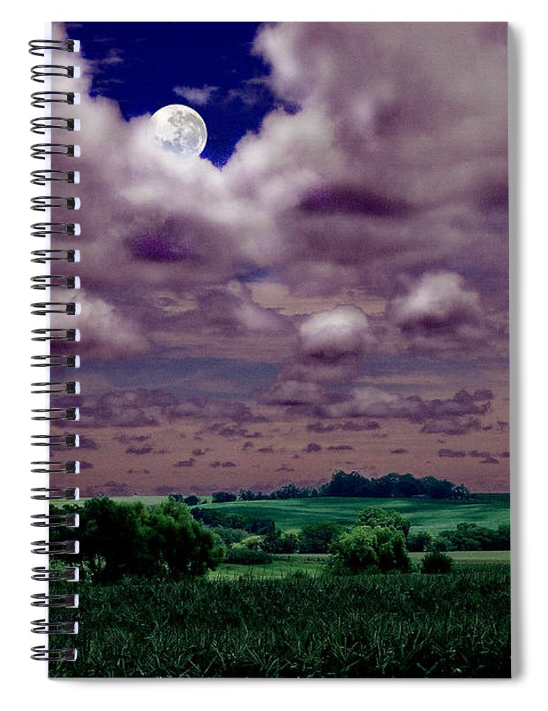 Landscape Spiral Notebook featuring the photograph Tarkio Moon by Steve Karol