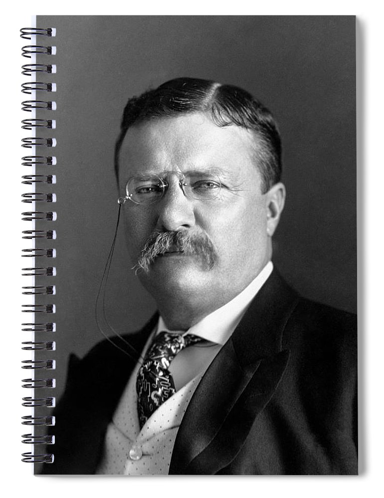 Theodore Roosevelt Spiral Notebook featuring the photograph Teddy Roosevelt Portrait - 1904 by War Is Hell Store