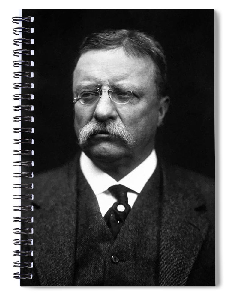 Teddy Roosevelt Spiral Notebook featuring the painting Teddy Roosevelt by War Is Hell Store
