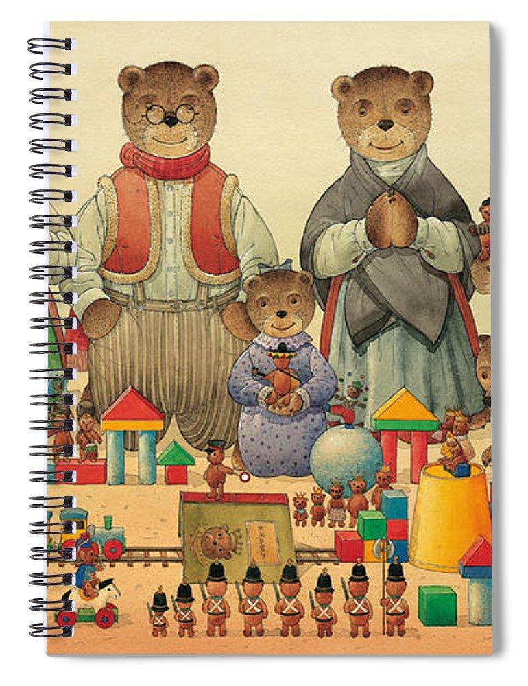 Christmas Greeting Cards Teddybear Spiral Notebook featuring the painting Teddybears and Bears Christmas by Kestutis Kasparavicius