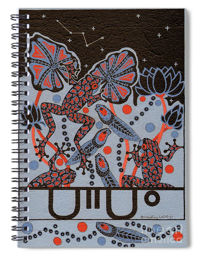 Native American Spiral Notebook featuring the painting Tehteu Little Green Frogs by Chholing Taha