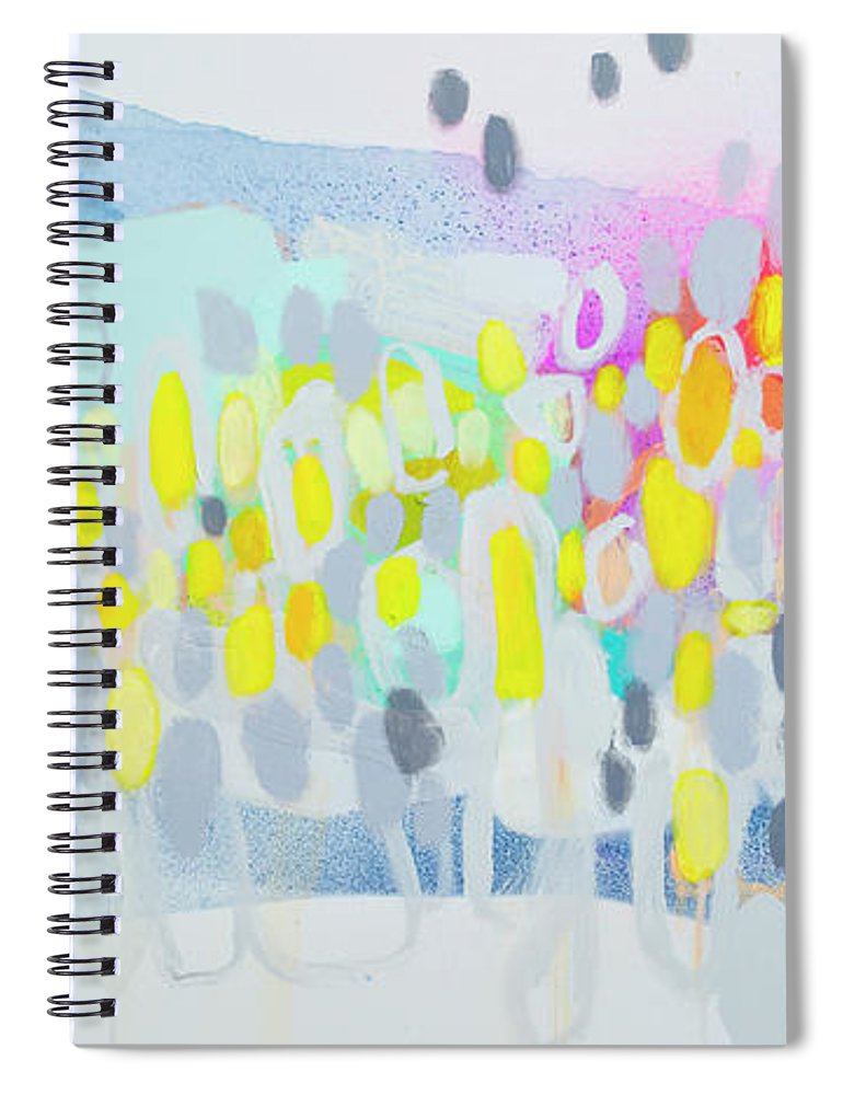 Abstract Spiral Notebook featuring the painting Ten O'clock Flight by Claire Desjardins