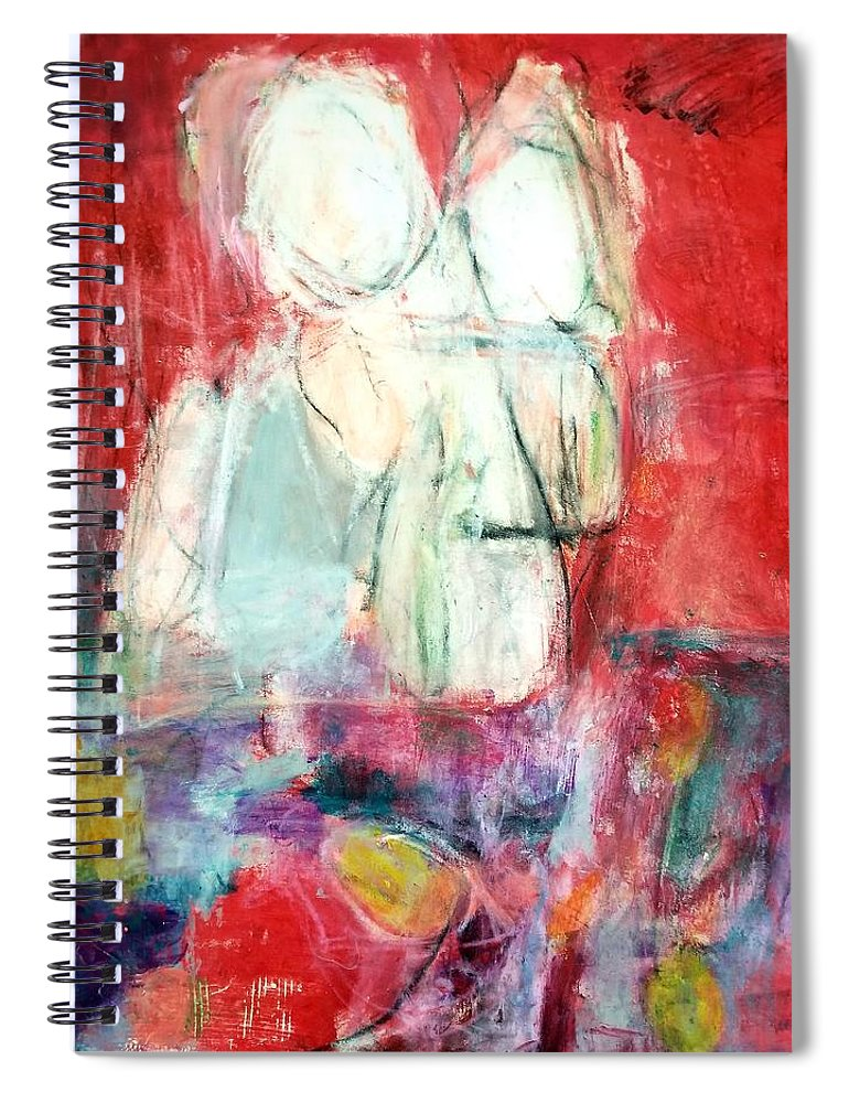 Red Spiral Notebook featuring the painting Tete-a-tete by Patricia Byron