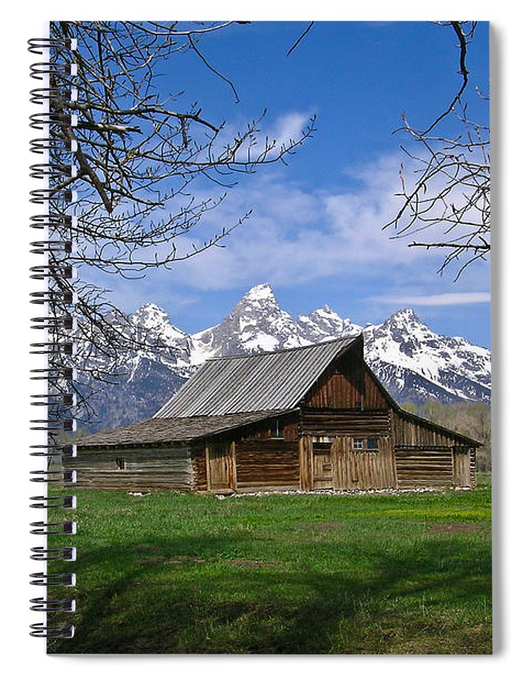 Teton Spiral Notebook featuring the photograph Teton Barn by Douglas Barnett