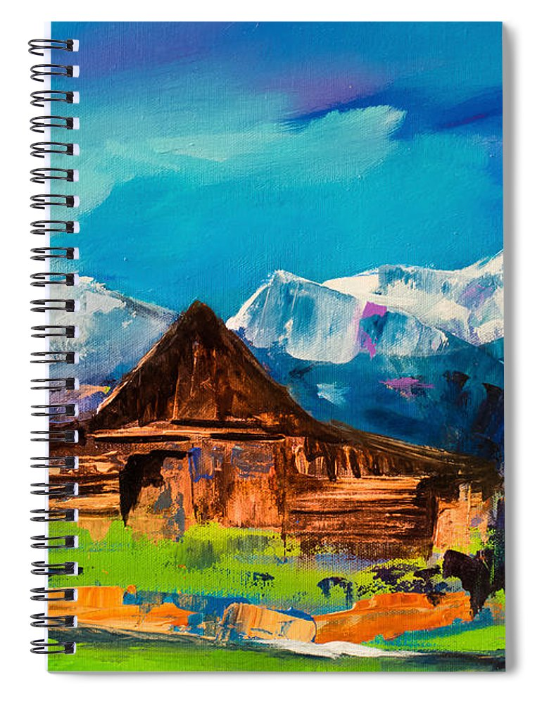 Barn Spiral Notebook featuring the painting Teton Barn by Elise Palmigiani