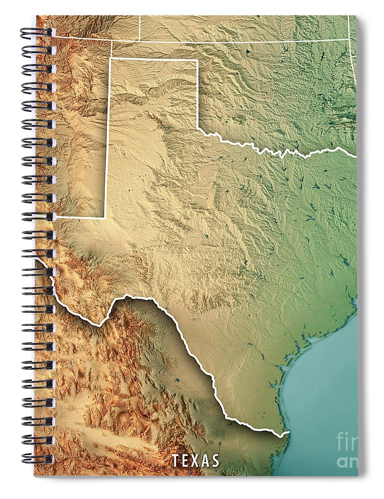 3d Map Of Texas.Texas State Usa 3d Render Topographic Map Border Spiral Notebook