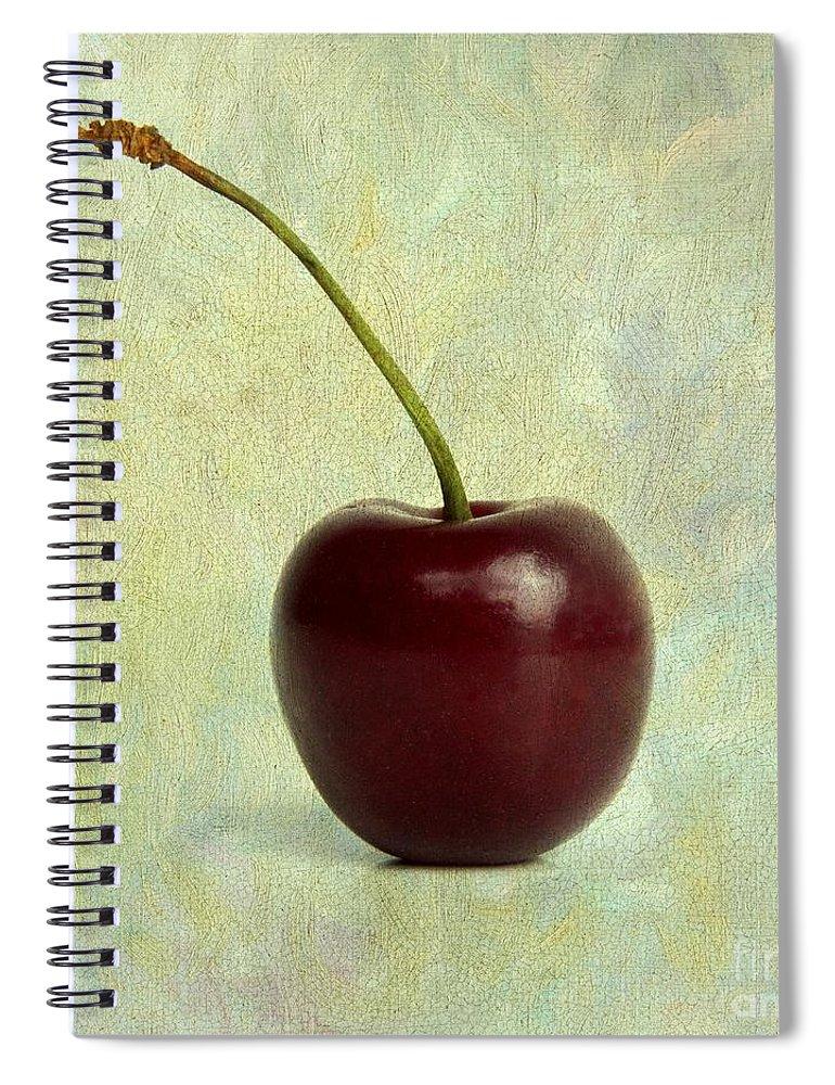 Cherries Spiral Notebook featuring the photograph Textured Cherry. by Bernard Jaubert
