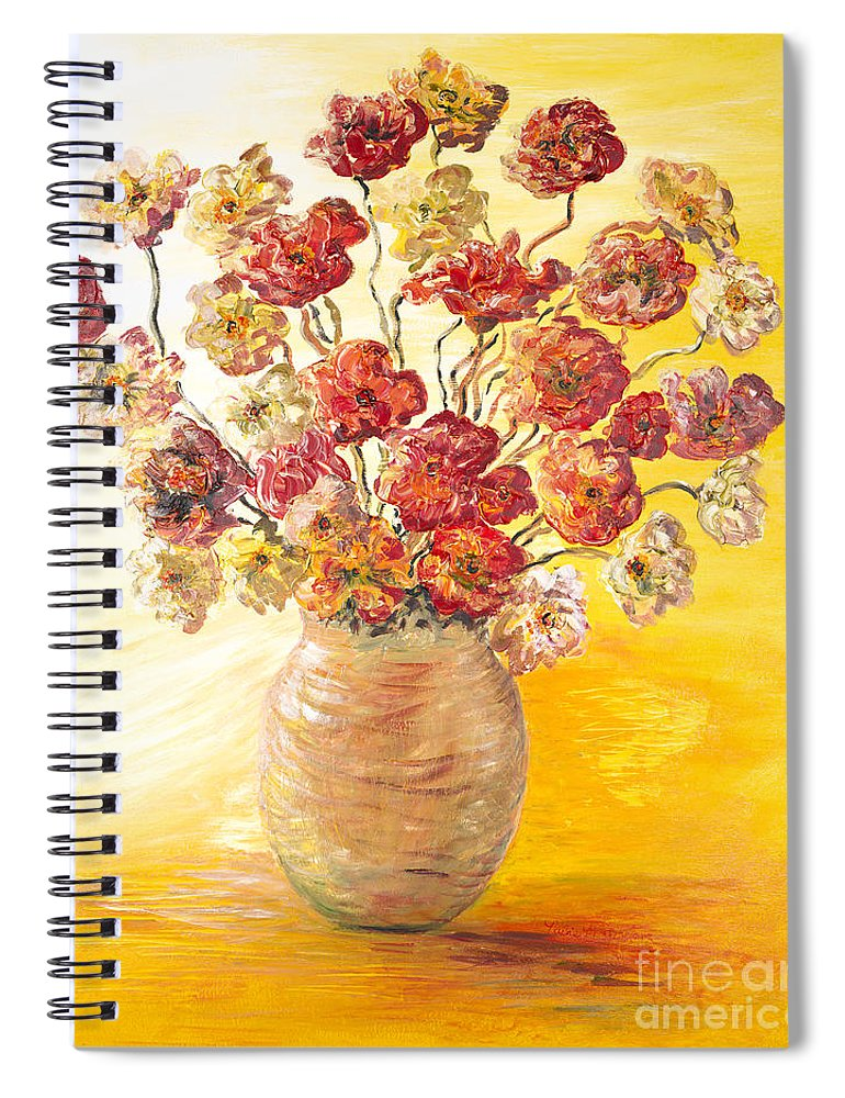 Flowers Spiral Notebook featuring the painting Textured Flowers in a Vase by Nadine Rippelmeyer