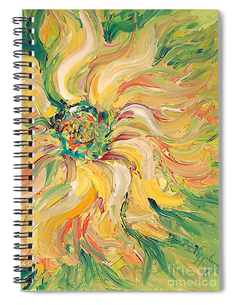 Texture Spiral Notebook featuring the painting Textured Green Sunflower by Nadine Rippelmeyer