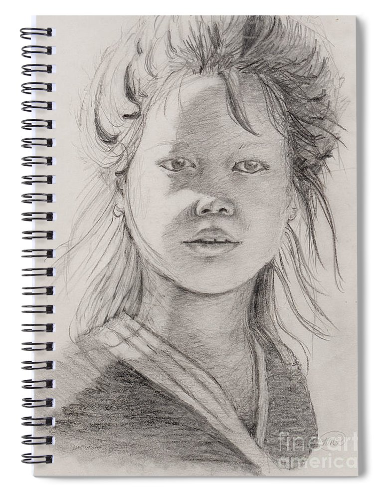Portrait Spiral Notebook featuring the drawing Thai Beauty by Nadine Rippelmeyer
