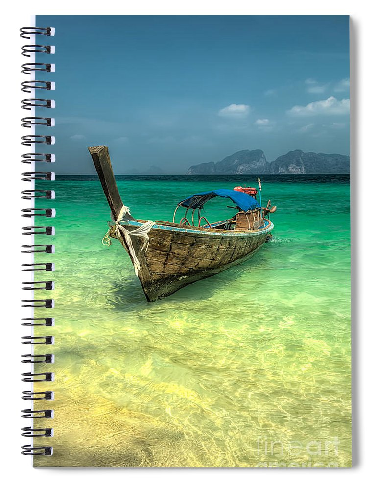 Boat Spiral Notebook featuring the photograph Thai Longboat by Adrian Evans