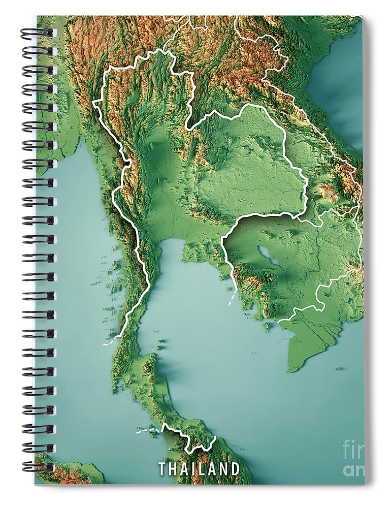 Thailand Topographic Map.Thailand 3d Render Topographic Map Border Spiral Notebook For Sale