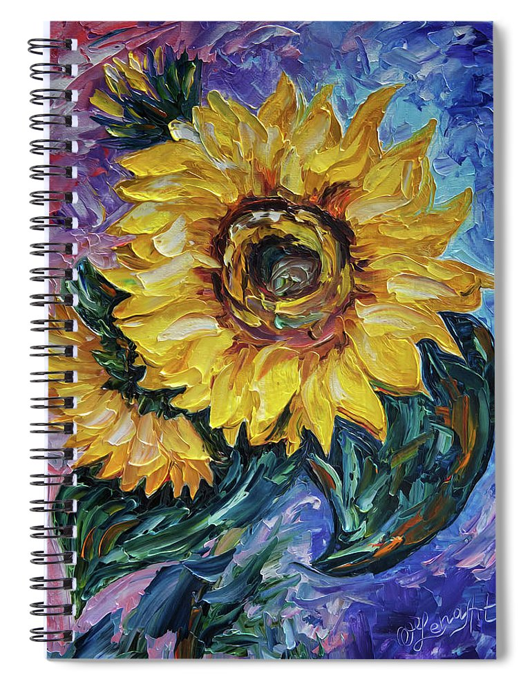 Olena Art Spiral Notebook featuring the painting That Sunflower From The Sunflower State by OLena Art Brand