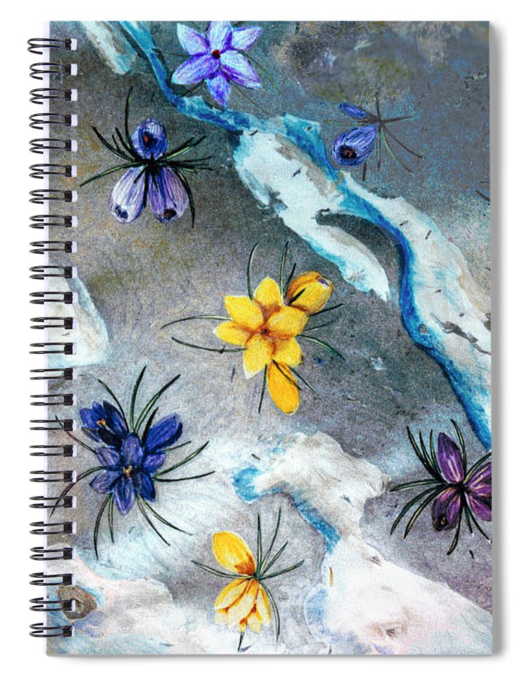 Spring Spiral Notebook featuring the drawing Thaw by Steve Karol