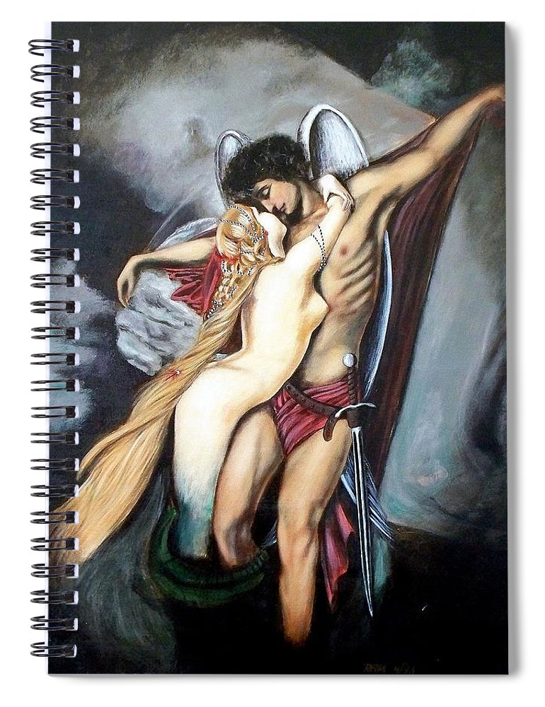 Michael And The Mermaid Spiral Notebook featuring the painting The Arcangel Micheal and The Mermaid by RB McGrath