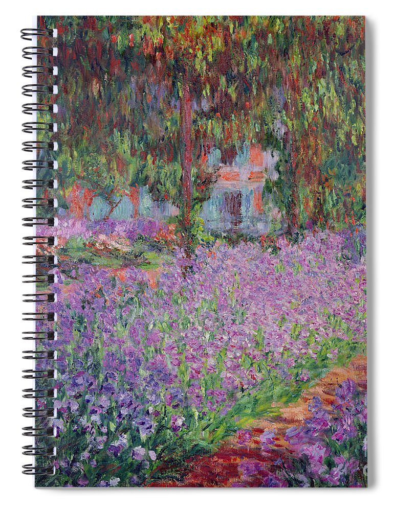 The Spiral Notebook featuring the painting The Artists Garden at Giverny by Claude Monet