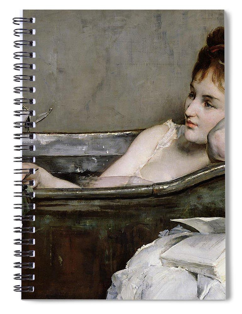 Alfred George Stevens Spiral Notebook featuring the painting The Bath by Alfred George Stevens