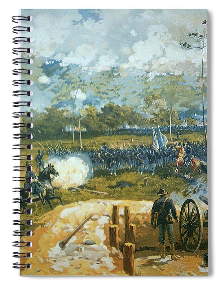 The Battle Of Kenesaw Mountain Spiral Notebook featuring the painting The Battle Of Kenesaw Mountain by American School