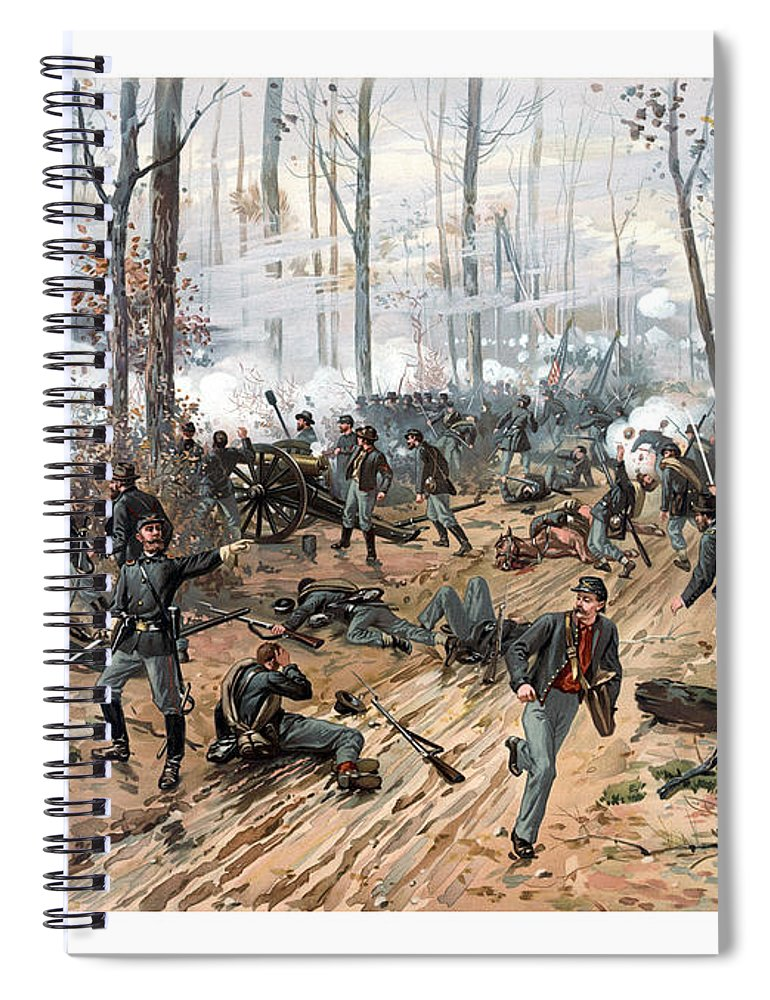 Civil War Spiral Notebook featuring the painting The Battle of Shiloh by War Is Hell Store