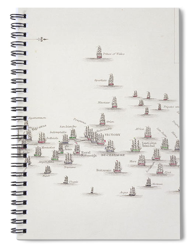 The Battle Of Trafalgar Spiral Notebook featuring the drawing The Battle Of Trafalgar by Alexander Keith Johnston