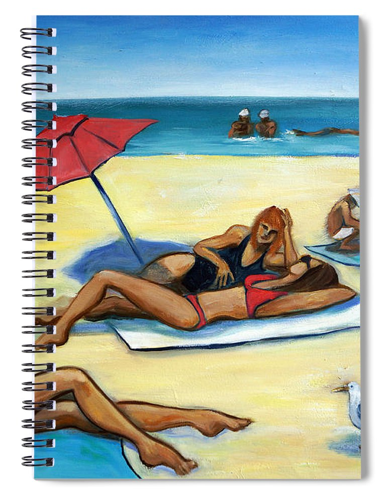 Beach Scene Spiral Notebook featuring the painting The Beach by Valerie Vescovi