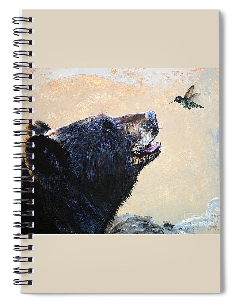 Bear Spiral Notebook featuring the painting The Bear and the Hummingbird by J W Baker