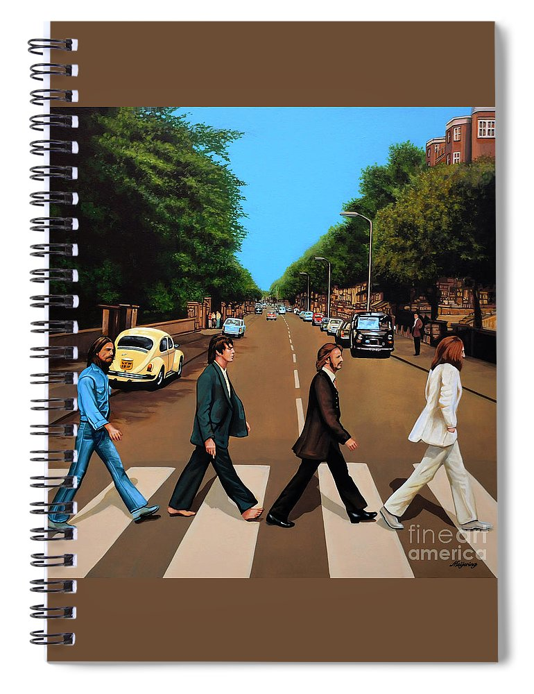 The Beatles Spiral Notebook featuring the painting The Beatles Abbey Road by Paul Meijering