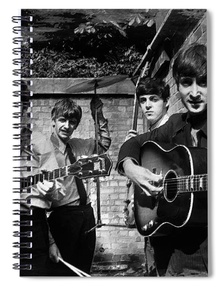 The Beatles Spiral Notebook featuring the painting The Beatles In London 1963 Black And White Painting by Tony Rubino