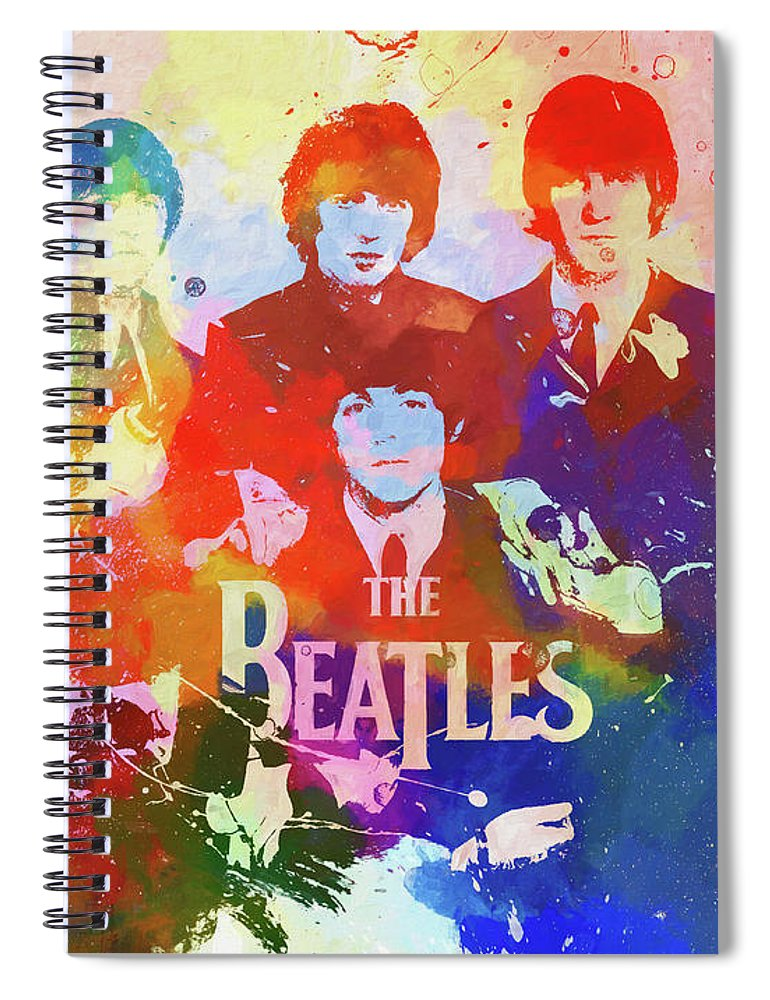 The Beatles Watercolor Spiral Notebook featuring the painting The Beatles Paint Splatter by Dan Sproul