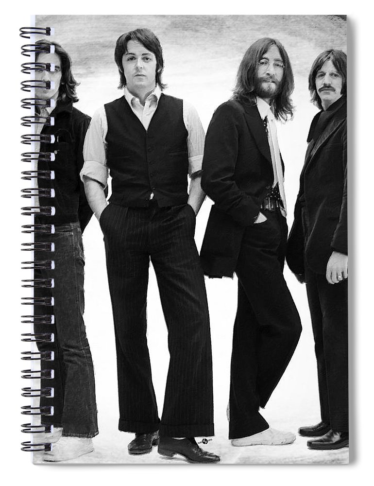 The Beatles Spiral Notebook featuring the painting The Beatles Painting Late 1960s Early 1970s Black And White by Tony Rubino