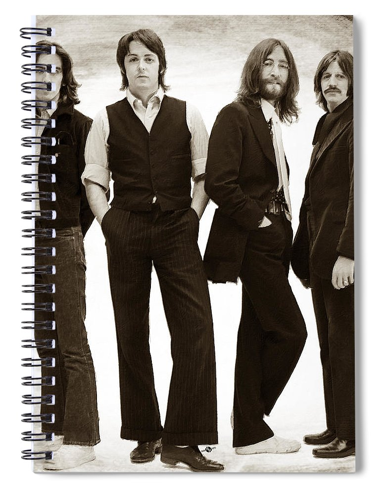 The Beatles Spiral Notebook featuring the painting The Beatles Painting Late 1960s Early 1970s Sepia by Tony Rubino