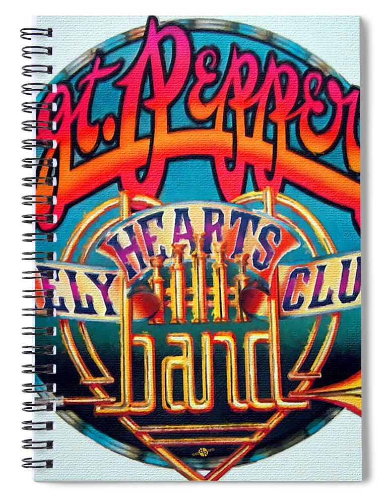 The Beatles Spiral Notebook featuring the painting The Beatles Sgt. Pepper's Lonely Hearts Club Band Logo Painting 1967 Color by Tony Rubino