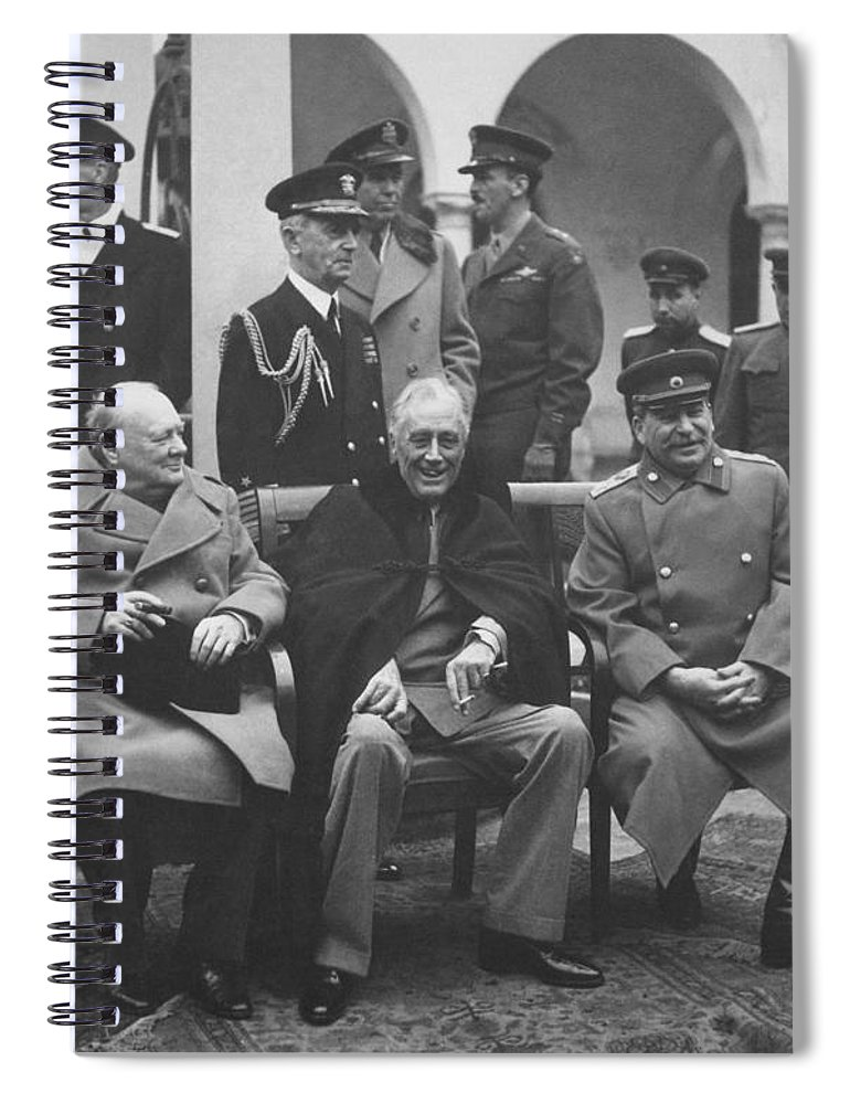 Franklin Roosevelt Spiral Notebook featuring the photograph The Big Three -- Ww2 Leaders by War Is Hell Store