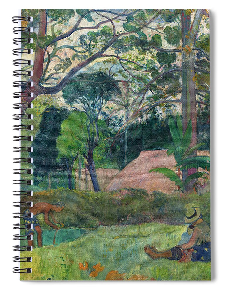 The Big Tree Spiral Notebook featuring the painting The Big Tree Te Raau Rahi by Paul Gauguin