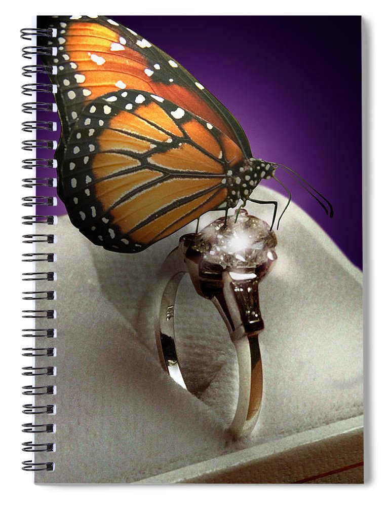 Fantasy Spiral Notebook featuring the mixed media The Butterfly and the Engagement Ring by Yuri Lev