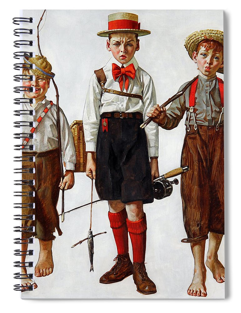 The Catch Spiral Notebook featuring the painting The Catch by Norman Rockwell