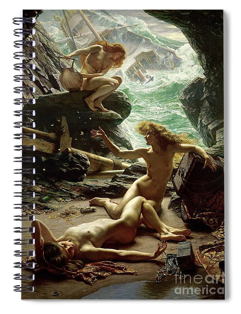 The Cave Of The Storm Nymphs Spiral Notebook featuring the painting The Cave of the Storm Nymphs by Sir Edward John Poynter