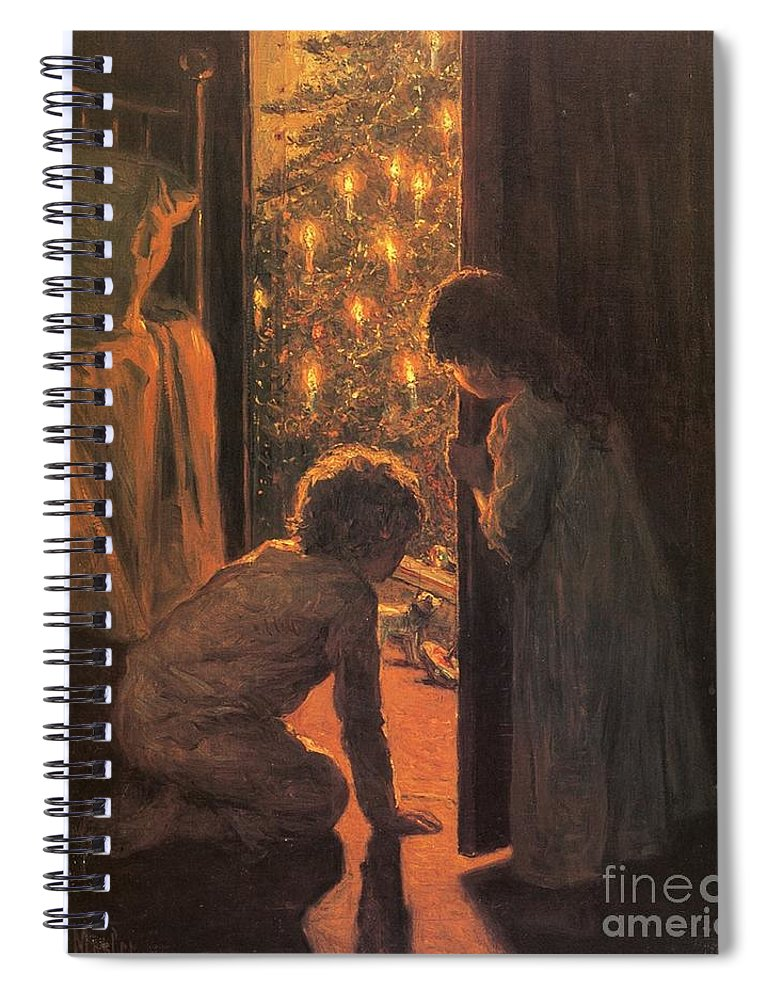 The Christmas Tree Spiral Notebook featuring the painting The Christmas Tree by Henry Mosler