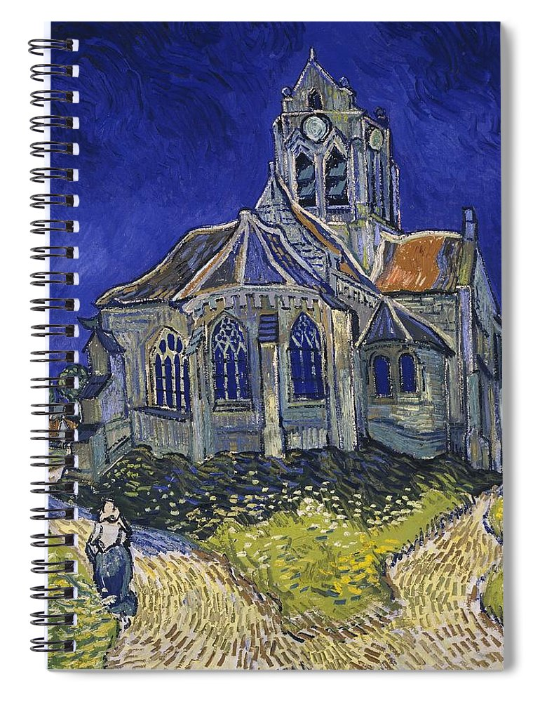 Vincent Van Gogh Spiral Notebook featuring the painting The Church At Auvers by Van Gogh