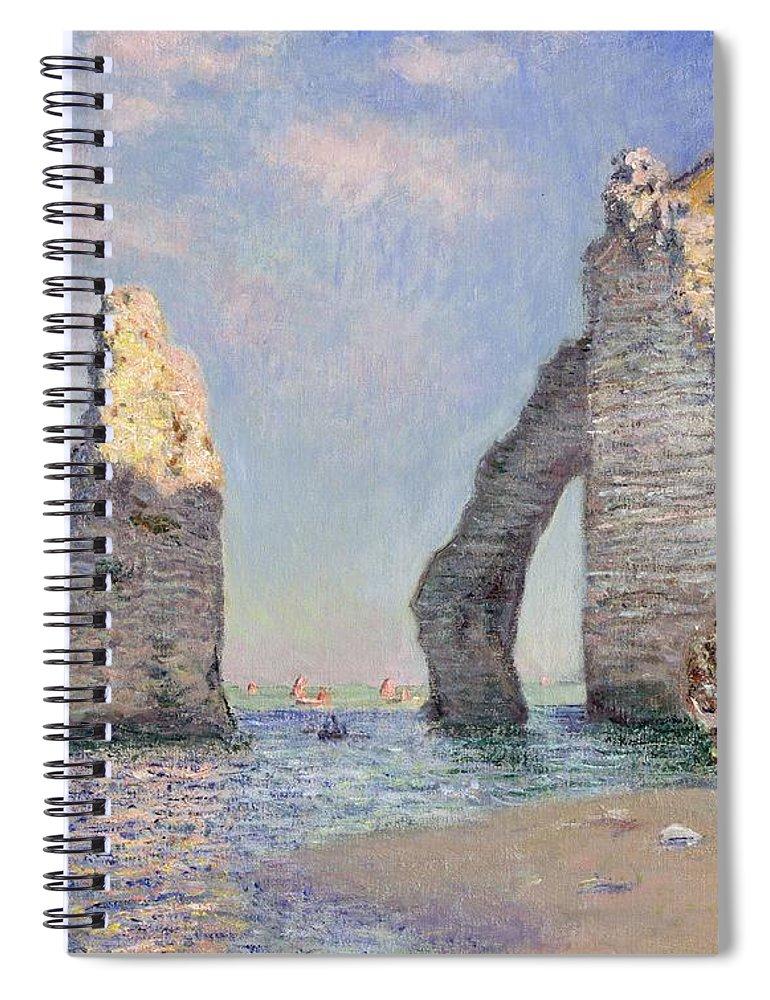 The Cliffs At Etretat Spiral Notebook featuring the painting The Cliffs At Etretat by Claude Monet