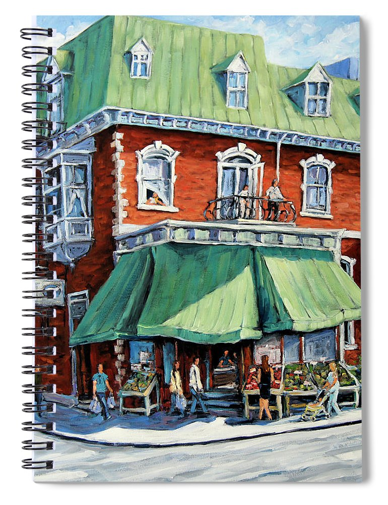 Art Spiral Notebook featuring the painting The Corner Market by Richard T Pranke