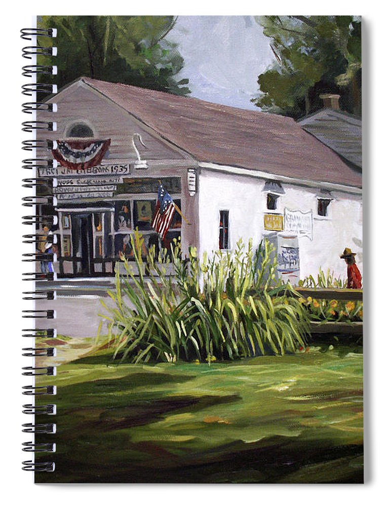 Buildings Spiral Notebook featuring the painting The Country Store by Nancy Griswold