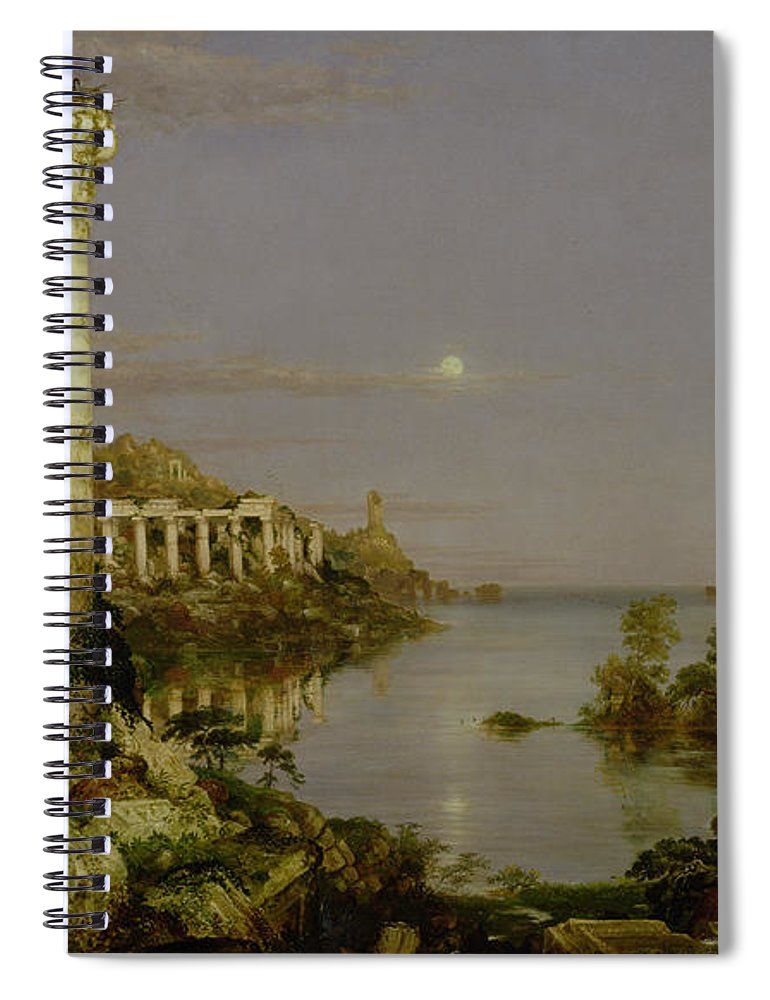 Moonlit Landscape; Classical; Architecture; Ruin; Ruins; Desolate; Bridge; Column; Hudson River School; Moon Spiral Notebook featuring the painting The Course Of Empire - Desolation by Thomas Cole