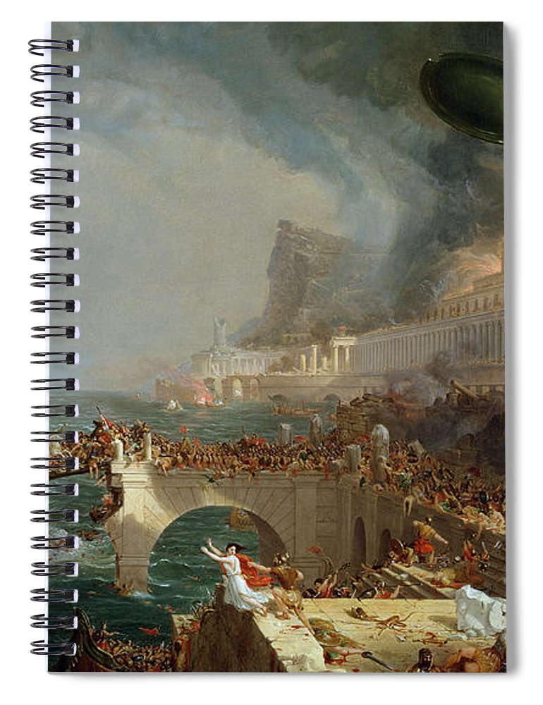 Destroy; Attack; Bloodshed; Soldier; Ruin; Ruins; Shield; Monument; Bridge; Classical Architecture; Galleon; Barbarian; Barbarians; Possibly Fall Of Rome; Hudson River School; Statue Spiral Notebook featuring the painting The Course Of Empire - Destruction by Thomas Cole