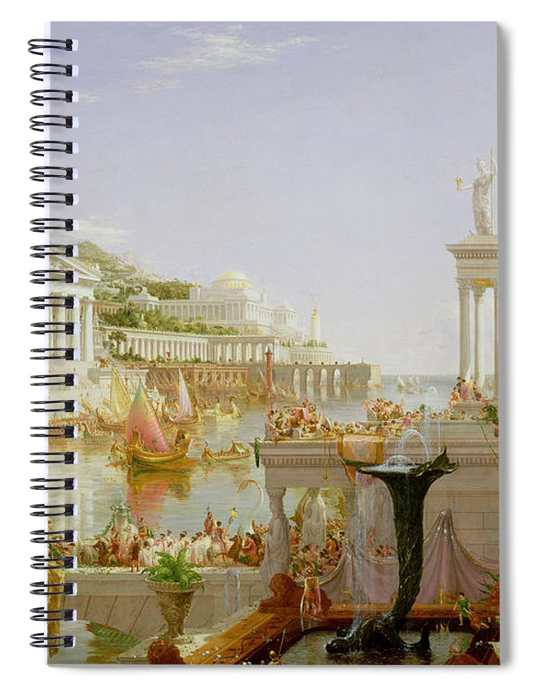 Civilisation; Ideal; Classical; Monument; Architecture; Column; Fountain; Hudson River School; The Course Of Empire: The Consummation Of The Empire Spiral Notebook featuring the painting The Course Of Empire - The Consummation Of The Empire by Thomas Cole