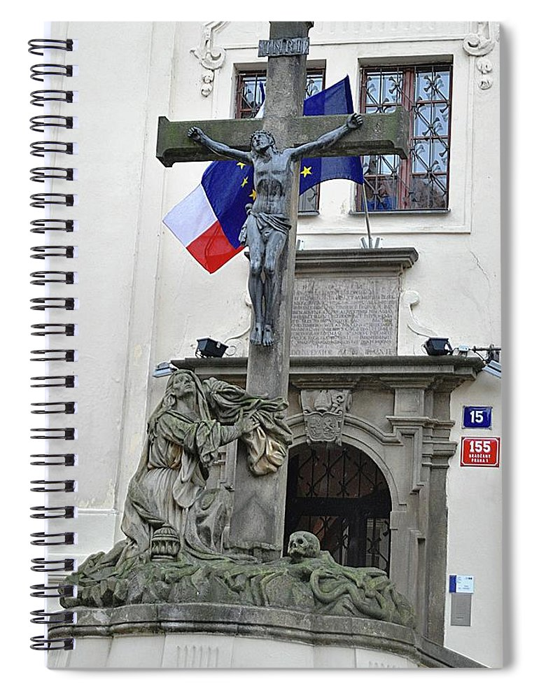 Cross Spiral Notebook featuring the photograph The Cross And Flags by John Hughes