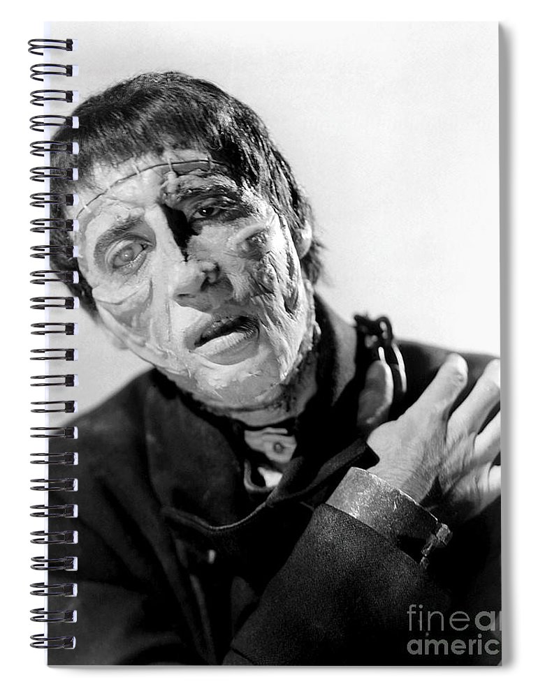 The Curse Of Frankenstein Spiral Notebook featuring the photograph The Curse Of Frankenstein Christopher Lee 1957 by R Muirhead Art