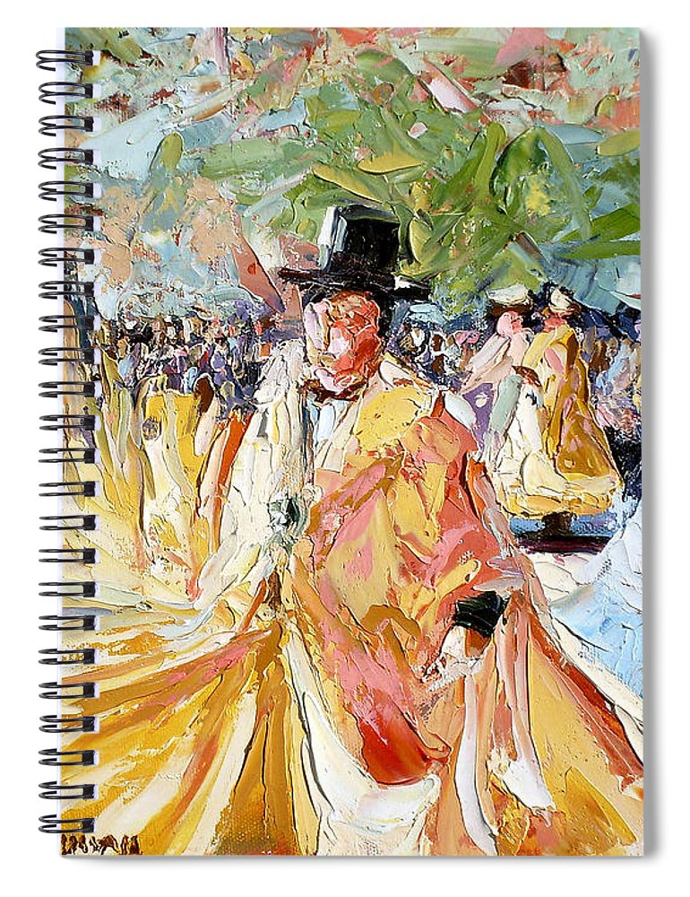 La Paz Spiral Notebook featuring the painting The Dance At La Paz by Lewis Bowman