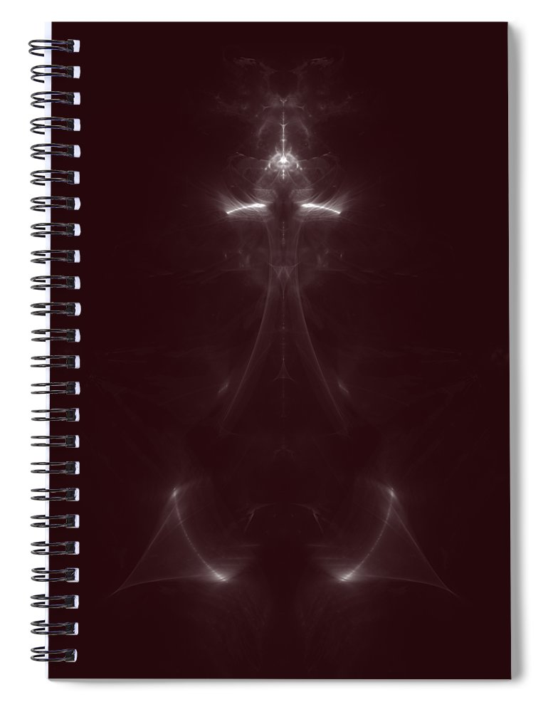 Sorcerer Spiral Notebook featuring the digital art The Dark Sorcerer Fine Fractal by Piece of Infinity